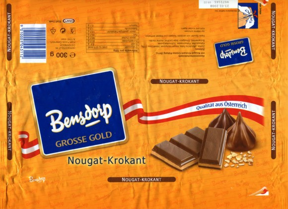 Bensdorp grosse gold, Erdbeer-rahm, milk chocolate with nougat cream filling, 300g, 23.02.2007, Bensdorp, Kraft Foods, Wien, Austria