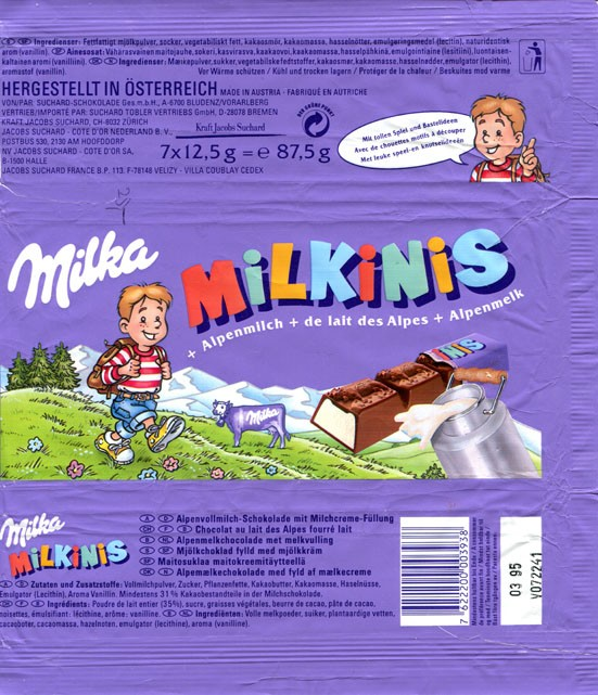 Milka, milkinis, milk chocolate, 7x12,5g (87,5g), 03.1994, Kraft Jacobs Suchard, Bludenz, Austria
