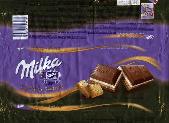 Milka, milk chocolate with chocolate flavoured filling and cream flavoured filling and a layer of biscuit, 300g, 14.03.2014, Kraft Foods Austria, Mondelez International, Bludenz, Austria