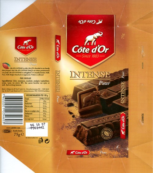 Cote dOr Intense Puur, dark chocolate, 75g, 06.10.2006, Kraft Foods Belgium, Belgium