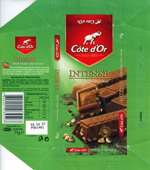Cote dOr Intense, Milk chocolate with hazelnuts, 75g, 06.02.2006, Kraft Foods Belgium, Belgium