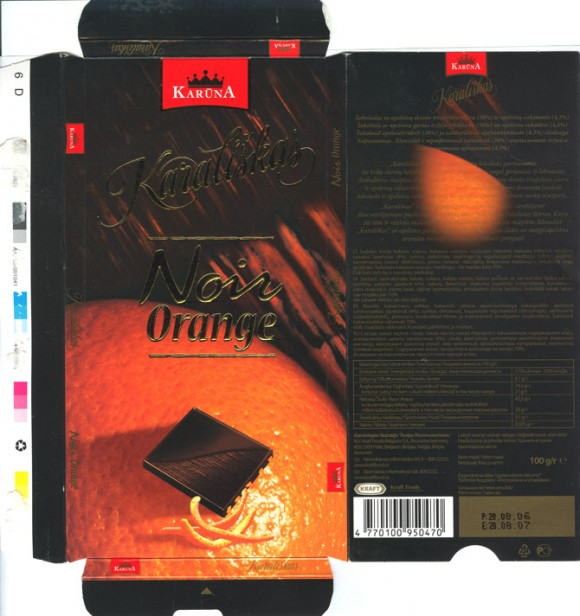 Karaliskas, plain chocolate with orange-truffle filling, 100g, 08.2006, Kraft Foods Belgium, Halle, Belgium