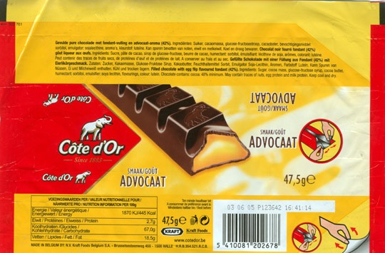 Cote dOr, filled chocolate with egg flip flavoured fondant, 47,5g, 03.06.2004, N.V. Kraft Foods Belgium S.A, Halle, Belgium