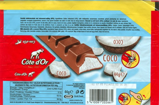 Cote dOr, milk chocolate with a coconut filling, 44g, 02.07.2004, N.V. Kraft Foods Belgium S.A, Halle, Belgium