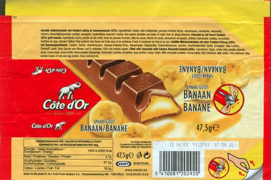 Cote dOr, filled milk chocolate with banana flavoured fondant, 47,5g, 12.06.2004, N.V. Kraft Foods Belgium S.A, Halle, Belgium