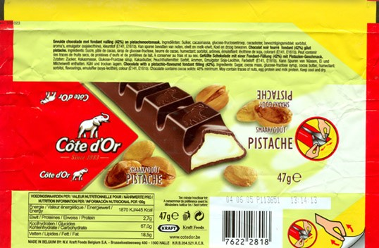 Cote dOr, chocolate with a pistachio-flavoured fondant filling, 47g, 04.06.2004, N.V. Kraft Foods Belgium S.A, Halle, Belgium