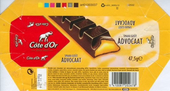 Cote dOr Advocaat, filled chocolate with egg flip flavoured fondant, 47,5g, 20.10.2003, N.V. Kraft Foods Belgium S.A, Halle, Belgium