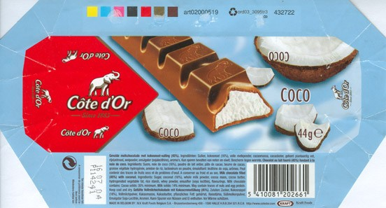 Cote dOr Coco, milk chocolate filled with coconut, 44g, 16.07.2003, N.V. Kraft Foods Belgium S.A, Halle, Belgium