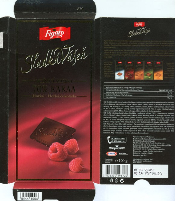 Figaro, Sladka Vasen, plain chocolate filled with raspberry flavoured dark chocolate and candied raspberries, 100g, 05.08.2008, N.V. Kraft Foods Belgium S.A., Halle, Belgium