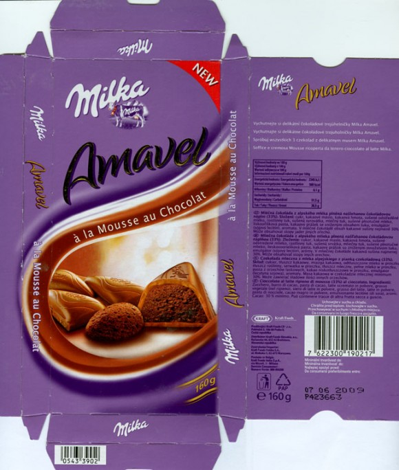 Milka, milk chocolate filled with cacao flavoured praline, 100g, 07.06.2008, N.V. Kraft Foods Belgium S.A., Halle, Belgium