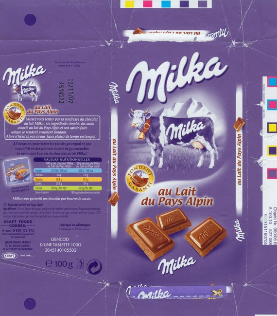 Milka, milk chocolate, 100g, 06.11.2006, Kraft Foods France, Velizy Villacoublay, France