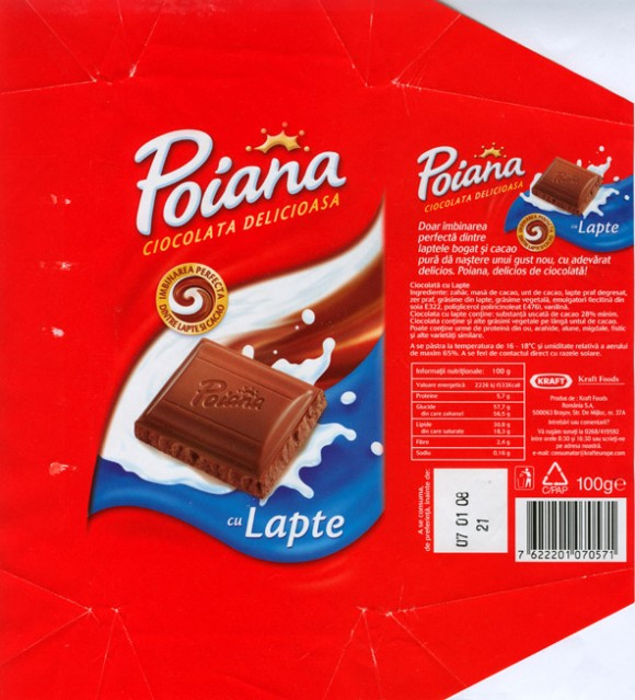 Poiana, milk chocolate, 100g, 07.01.2007, Kraft Foods Romania, Brasov, Romania