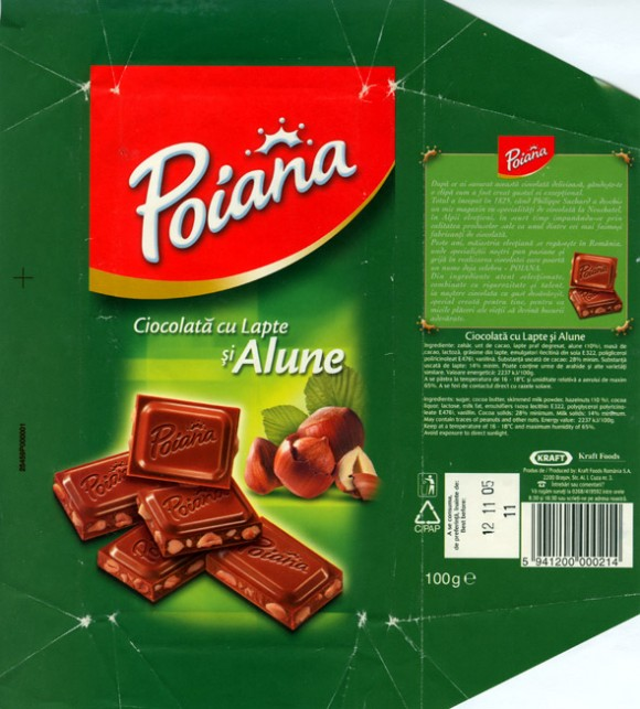 Poiana, milk chocolate hazelnuts, 100g, 12.11.2004, Kraft Foods Romania, Brasov, Romania