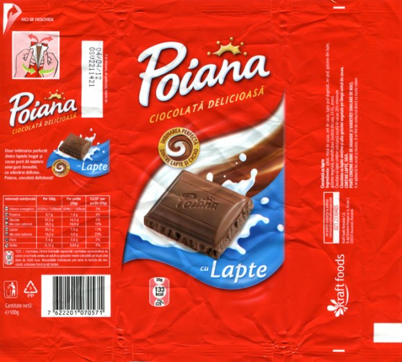 Poiana, milk chocolate, 100g, 04.04.2011, Kraft Foods Romania S.A, Bucuresti, Romania