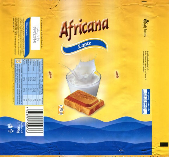 Africana, milk chocolate, 100g, 04.01.2012, Kraft Foods Romania S.A, Bucuresti, Romania