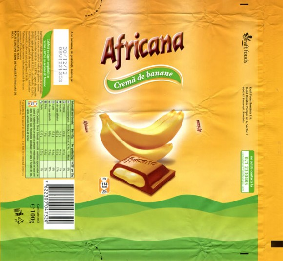 Africana, tablet with banana cream filling, 100g, 30.12.2011, Kraft Foods Romania S.A, Bucuresti, Romania