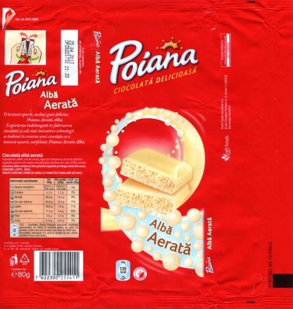 Poiana, aerated white chocolate, 80g, 25.04.2012, Kraft Foods Romania S.A, Bucuresti, Romania