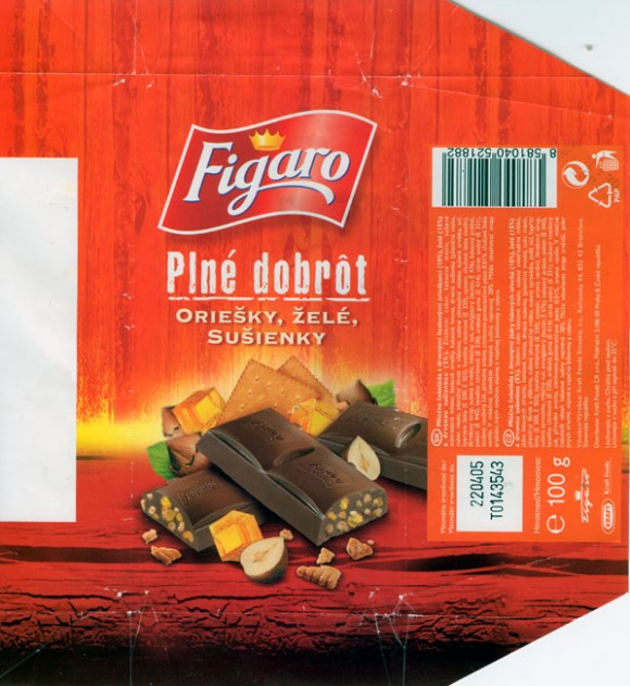 Figaro, milk chocolate with jelly and cookies , 100g, 22.04.2004