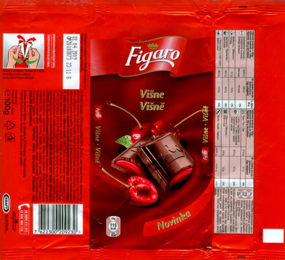 Figaro, dark chocolate with cherry flavoured cream filling, 100g, 22.04.2008, Kraft Foods Slovakia, Bratislava, Slovakia