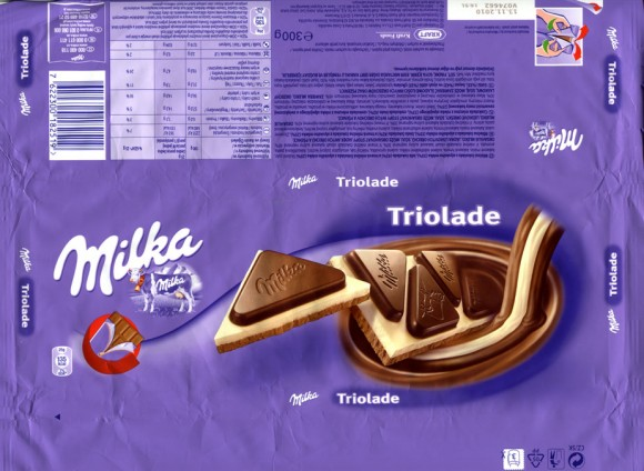 Milka Triolade, milk chocolate, white chocolate and dark chocolate with alpine milk chocolate, 300g, 13.11.2009, Kraft Foods, seller for Slovakia, Bratislava