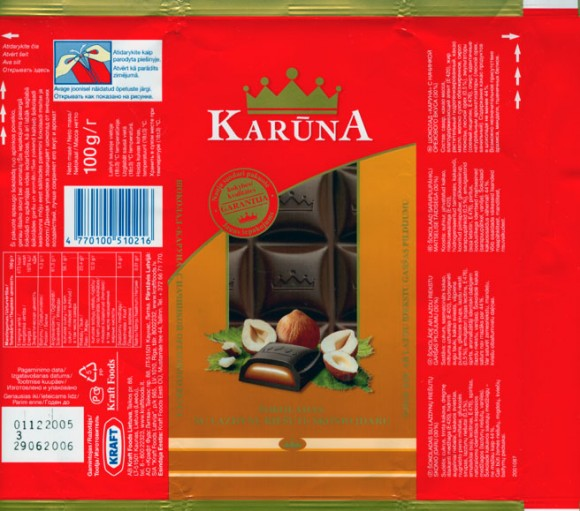 Karuna, milk chocolate with nuts, 100g, 01.12.2005, Kraft Foods Lietuva, Kaunas, Lithuania