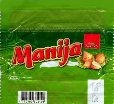 Manija, milk chocolate, 50g, 27.09.2005, Kraft Foods Lietuva, Kaunas, Lithuania