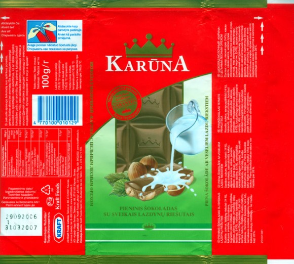 Karuna, milk chocolate with whole hazelnuts, 100g, 29.09.2006, Kraft Foods Lietuva, Kaunas, Lithuania