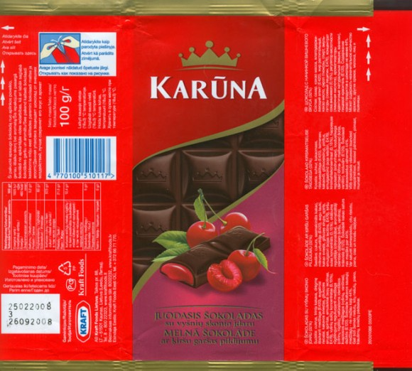 Karuna, milk chocolate filled with cherry flavoured cream, 100g, 25.02.2008, Kraft Foods Lietuva, Kaunas, Lithuania