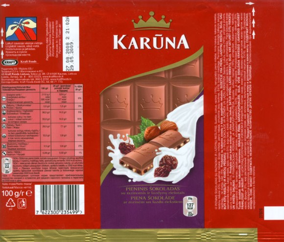 Karuna, milk chocolate with raisins and nuts, 100g, 27.08.2008, Kraft Foods Lietuva, Kaunas, Lithuania