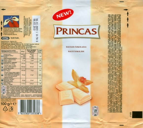 Princas, white chocolate, 100g, 06.03.2009, AB Kraft Foods Lietuva, Kaunas, Lithuania