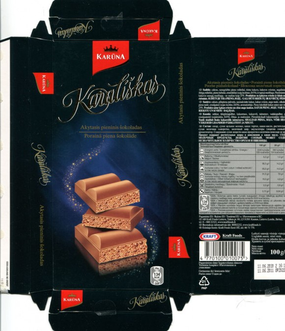 Karaliskas, milk air chocolate, 100g, 11.06.2010, Kraft Foods Lietuva, Kaunas, Lithuania