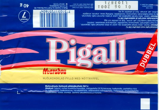Pigall Dubbel, milk chocolate nuts filling, 40g, 01.06.2000