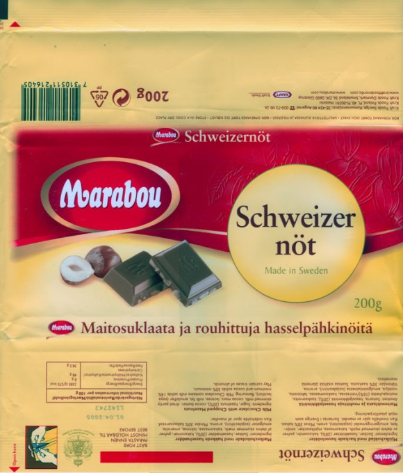 Schweizer not, milk chocolate with chopped hazelnuts, 200g, 01.04.2004