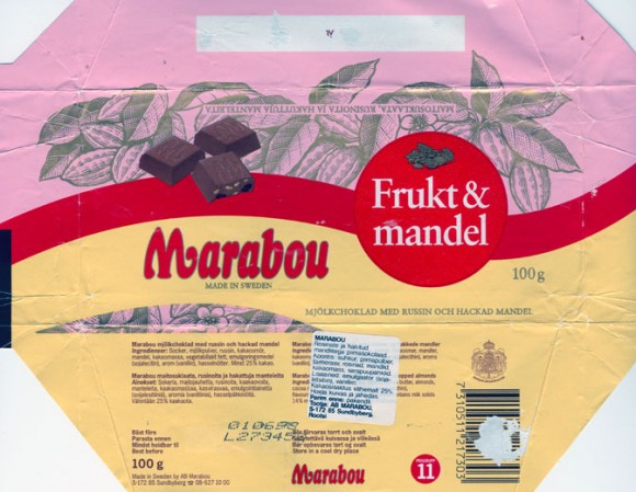 Fruct &Mandel, milk chocolate with raisins and chopped almonds, 100g, 01.01.1998