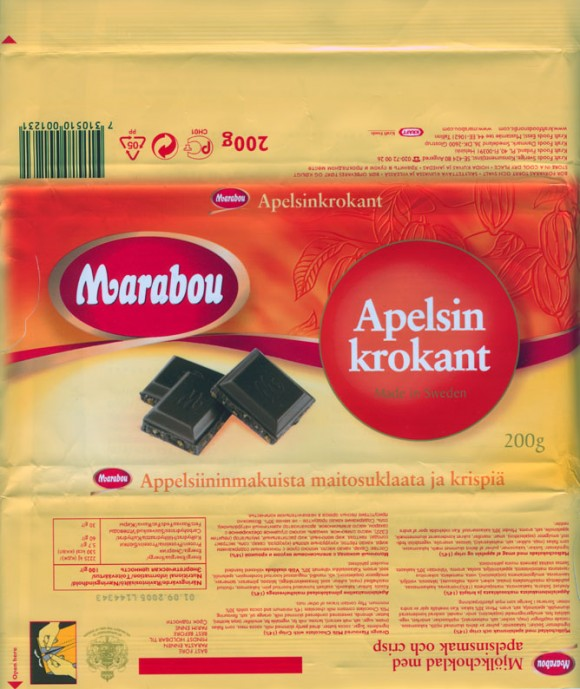 Marabou, Apelsin krokant, orange flavoured milk chocolate with crisp, 200g, 01.09.2004, 