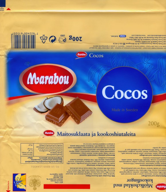 Milk chocolate with coconut flakes, 200g, 01.10.2004, 