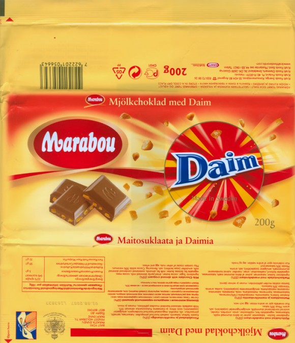 Marabou, milk chocolate with almond croquant 22%, 200g, 01.08.2006, Kraft Foods Sverige, Angered, Sweden