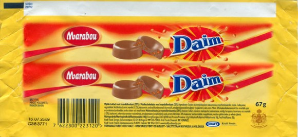 Daim, milk chocolate with almond croquant, 67g, 15.07.2008, Kraft Foods Sverige, Angered, Sweden