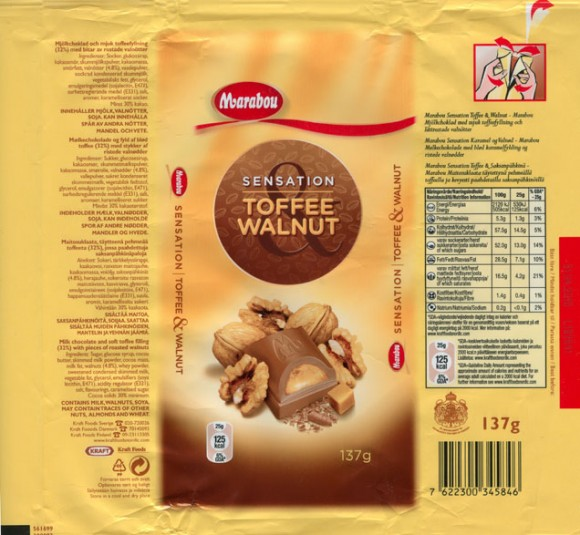 Milk chocolate with soft toffee filling with pieces of roasted walnuts, 137g, 01.04.2009, Kraft Foods Sverige, Angered, Sweden