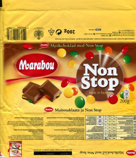 Marabou, Non Stop, milk chocolate with chocolates in a crispy sugar shell, 200g, 01.08.2009, Kraft Foods Sverige, Angered, Sweden