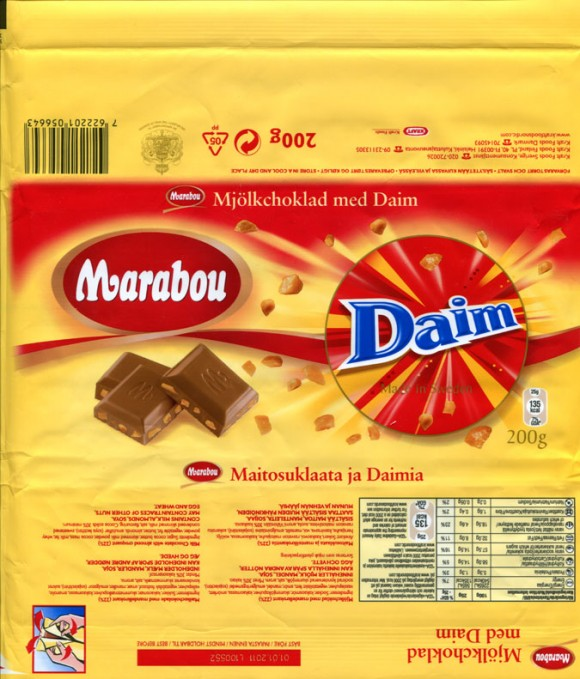 Marabou, Daim, milk chocolate with almond croquant, 200g, 01.01.2010, Kraft Foods Sverige, Angered, Sweden