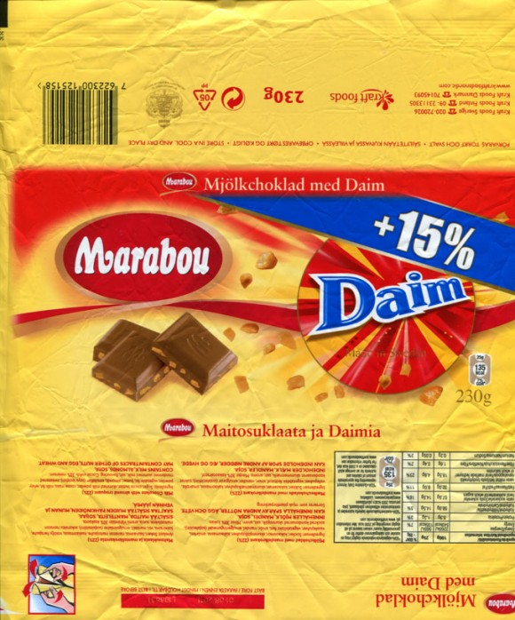 Marabou, Daim, milk chocolate with almond croquant, 230g, 01.08.2010, Kraft Foods Sverige, Angered, Sweden