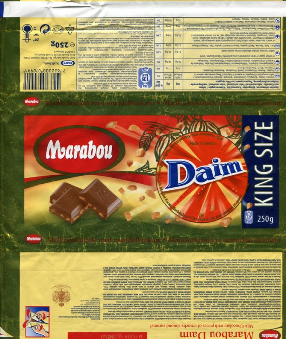 Marabou Daim, king size, milk chocolate with pieces of crunchy almond caramel, 250g, 13.11.2010, Kraft Foods Sverige, Angered, Sweden