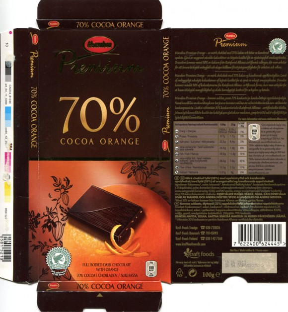 70% cocoa orange, dark chocolate with orange truffles, 100g, 19.06.2012, Kraft Foods Sverige, Sweden