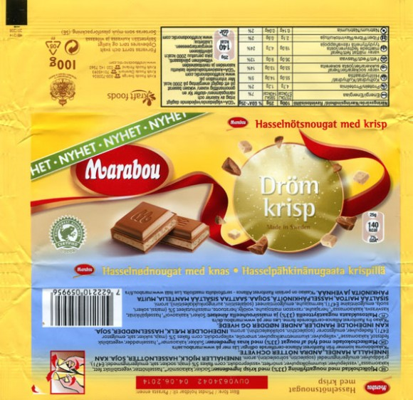 Marabou, milk chocolate with nougat filling, 100g, 04.06.2013, Kraft Foods Sverige, Sweden