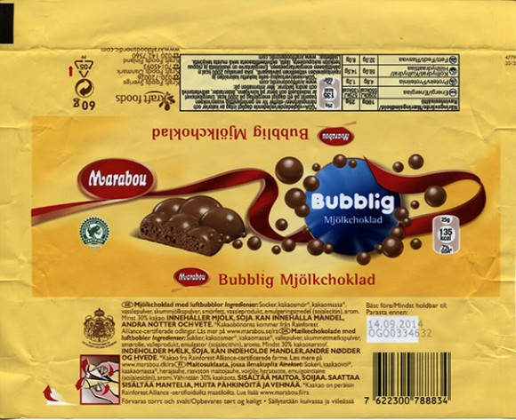 Marabou, bubblig, milk chocolate, 60g, 14.09.2013, Kraft Foods Sverige, Mondelez International, Sweden