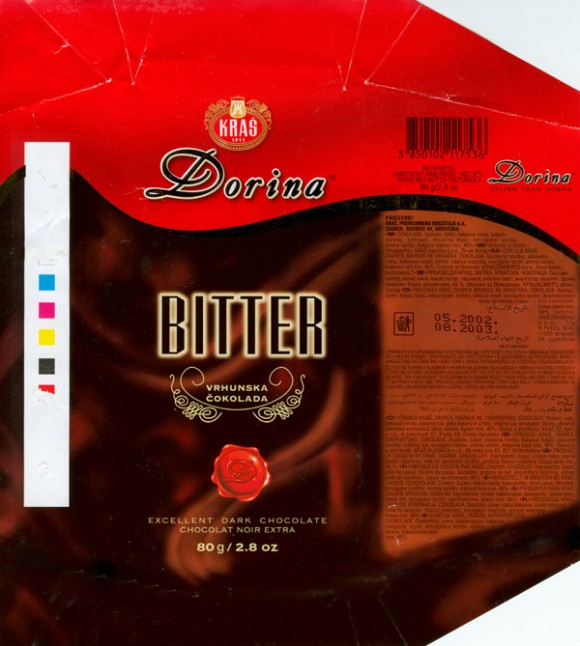 Dorina, excellent dark chocolate, 80g, 05.2002, Kras, Zagreb, Croatia