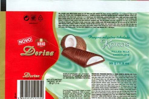 Dorina, Kokos, filled milk chocolate, 35g, Kras, Zagreb, Croatia