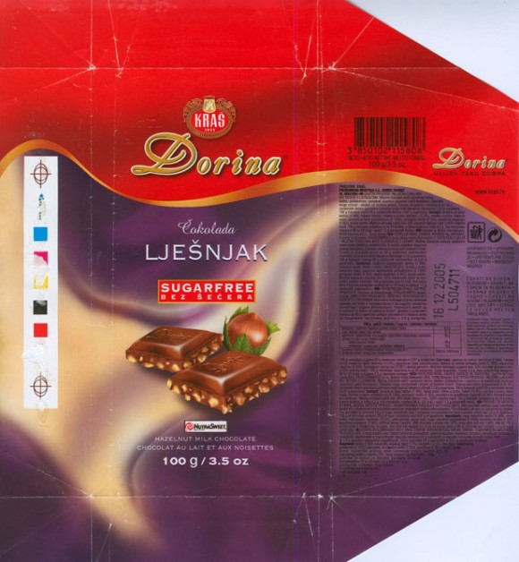 Dorina, sugarfree, hazelnut milk chocolate, 100g, 16.12.2004, Kras, Zagreb, Croatia