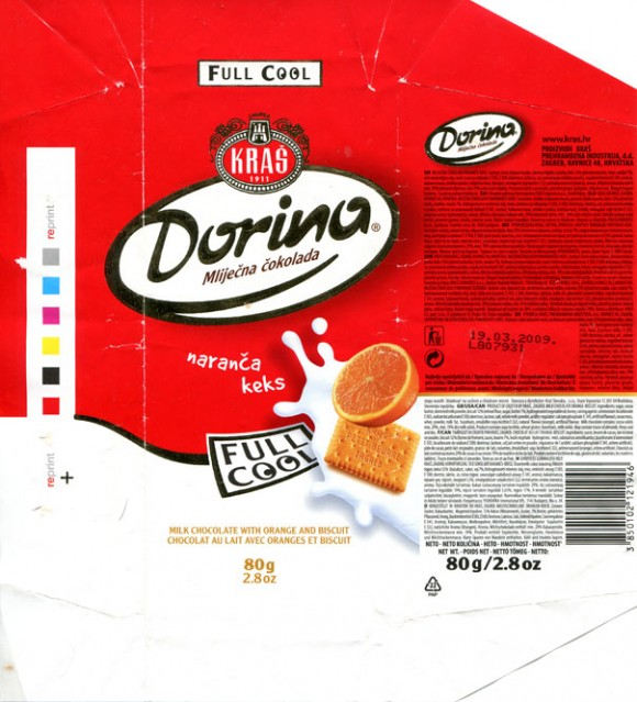 Dorina, milk chocolate, 80g, 19.03.2008, Kras, Zagreb, Croatia